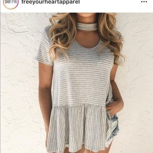 Scoop Neck Gray Striped T-Shirt